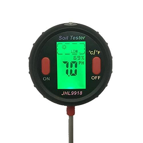 Jannyshop Soil Tester 5-in-1-Gartenhygrometer Beleuchtungsstärke Thermometer zur Messung von Boden pH Meter Gartengeräten für Haus, Garten und Pflanzen -