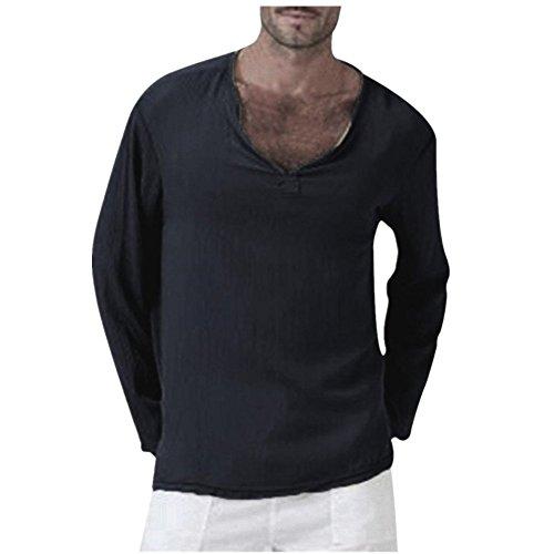 TEELONG Herren Sommer T-Shirt Baumwolle Leinen Thai Hippie Hemd  V-Ausschnitt Strand Yoga Top Bluse Hemd Weste Sweatshirt Baumwollshirt  Longshirt Ärmellos ... 92b0a0ec0a