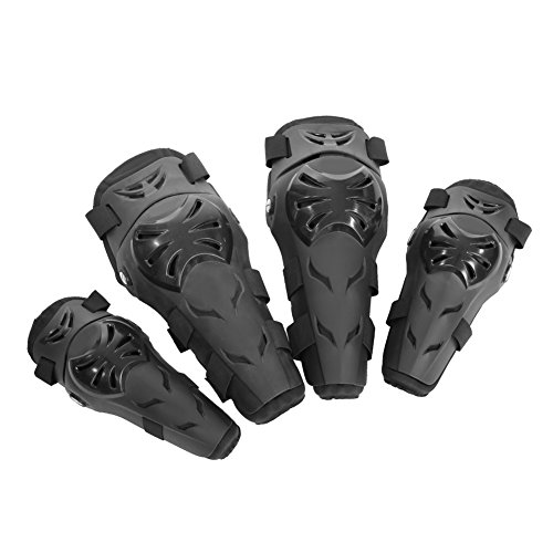 Qiilu 4 Stück Motorrad Motocross Radfahren Ellenbogen und Knie Pads Schutz Wächter Rüstungen Set Schwarz (Ellenbogen Öffnung)