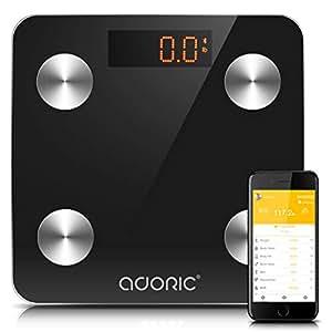 Pèse Personne Impédancemètre Adoric- Pèse Personne Graisse Corporelle, Mini Balance Connectée Bluetooth pour IOS et Android, Multi-mesure, 10.2 pouces, Marche/Arrêt Automatique, 150 KG(noir)