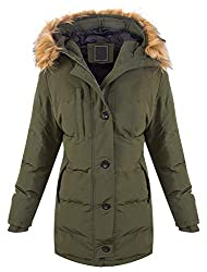 Rock Creek Warme Damen Winter Jacke Parka Steppjacke Winterjacke Mantel Gesteppt Damenjacken Outdoor Jacken gefüttert Kurzmantel D-407 Dunkelgrün M