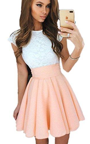 Damen Kleid Kleider (ECOWISH Sommerkleid Spitze Kleid Damen Cocktailkleid Festlich Partykleid A Linie Ärmellos Knielang, S, hell-orange)