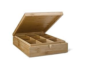 Bredemeijer TBC09BN Storage Boîte à Thé avec 9 Compartiments sans Fenêtre Bambou