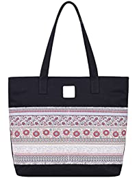 Zhhlinyuan National Large Canvas Shoulder Bags Tote For Women Ladies With Zipper