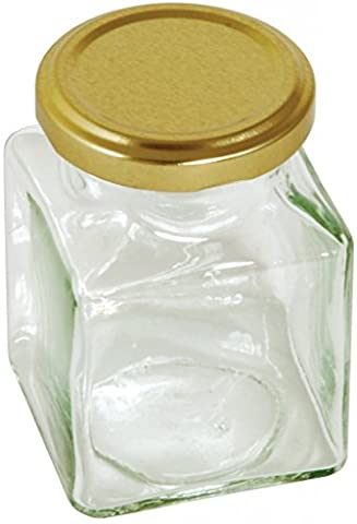 130ml Square Preserving Glass Jar with Gold Screw Top Lid