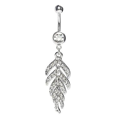 Bodya 14g en acier chirurgical Strass plumes CZ Cristal Chaînes pendantes pour nombril feuille Dnavel Bague sexy Piercing Bijoux -