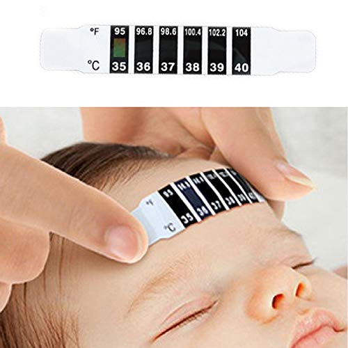 ABEDOE Thermometerstreifen, Instant Read Stirntemperatur-Aufkleber Wiederverwendbarer Fieberthermometer LCD-Streifen Kleber, der Thermometerstreifen für Kinder Erwachsene ältere Menschen überprüft -