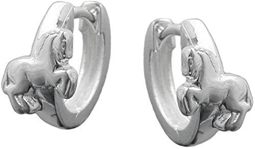 Unbespielt Schmuck Ohrschmuck Echt Silber Ohrringe Silber 925 Creolen Pferd klein für Kinder 12 x 2 mm glänzend mit Steckverschluss inklusive Schmuckbox
