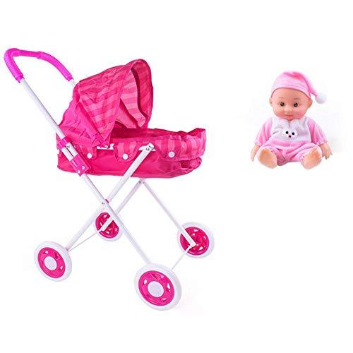 enwagen tragbar Puppenwagen Kinderwagen Jungen und Mädchen Kleinkind Push Cart Spielzeug Trolley Simulierte Puppe Spielzeug für drinnen und draußen ()