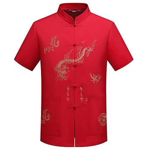 Männer Alten Chinesischen Kostüm - XPF Neue Tang Anzug Männer Mittleren Und Alten Alter Tai Chi Kleidung Kurzhülse Sommer Stickerei Chinesischen Stil Kostüm Shirt,ChineseRed-XXL