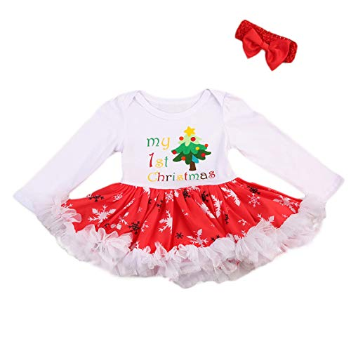 Vpuquuz 2 STÜCKE Neugeborene Weihnachten Mädchen Strampler Tutu Kleid Kleidung Stirnband Set Geschwollene Tulle Prinzessin Weihnachtskleid Kind für Baby (Weihnachtsbaum Muster, 3-9M) (Geschwollene Kleider Für Mädchen)
