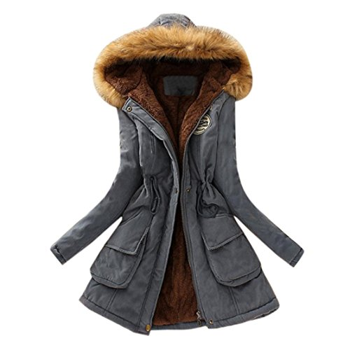 Reaso Manteaux Hiver Femme Parka Elegant Pullover Chaud Veste à Capuche Manteau Manches Longue Grande Taille Hoodie Sweatshirt Casual Outwear Capuche Sport Outfits (2XL, Gris)