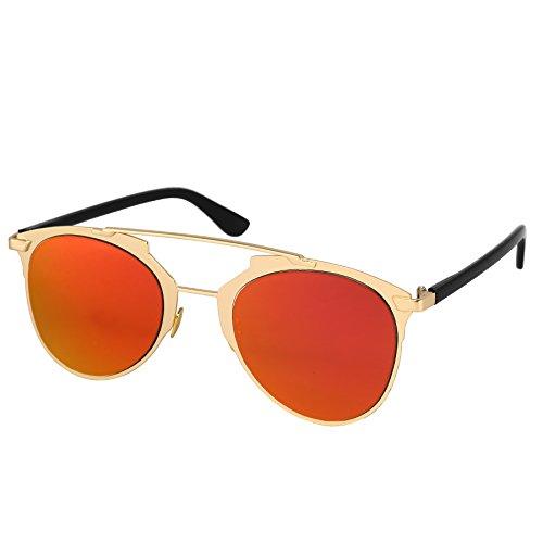 Silver Kartz European Pink Red Mercury Heavy Metal Aviator Sunglasses (wy214)