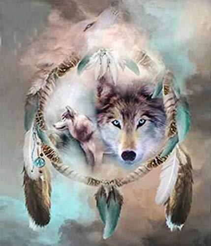 Neue 5D DIY Diamant Malerei Windspiel Mit Wolf Tanz Malerei Stickerei Runde Diamant Kreuzstich Mosaik Malerei Dekoration Geschenk 70x90cm