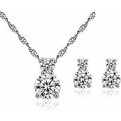 dc jewels Swarovski Sterling Silver Clear Double Solitaire American Diamond Fashionable Pendant with Earrings for Women with Chain(Silver)