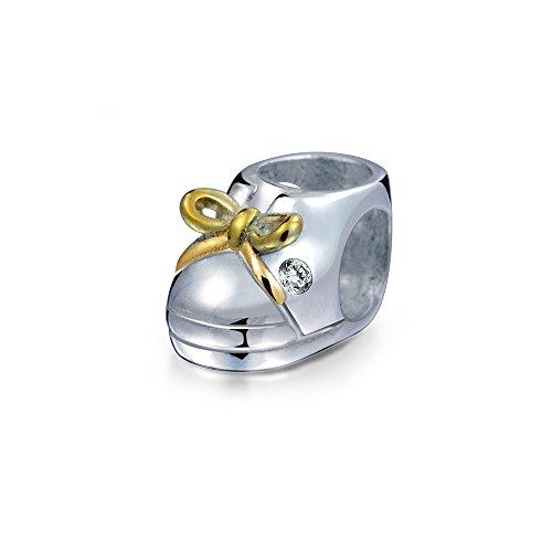 Zwei Ton Baby Schuh Charm Perle Für Neue Mutter Für Damen 14K Vergoldet Sterling Silber Passend Für Europäische Armband (Baby-schuh-charme)
