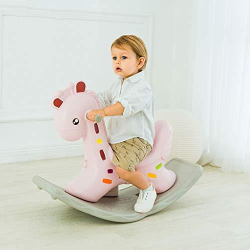 YangMi Hölzernes Pferd der Kinder- Kinder dicke große Plastikschaukel wiegen, Baby-Schaukelpferd Kinder Spielzeug (Farbe : Rosa, größe : 88x39x56cm)