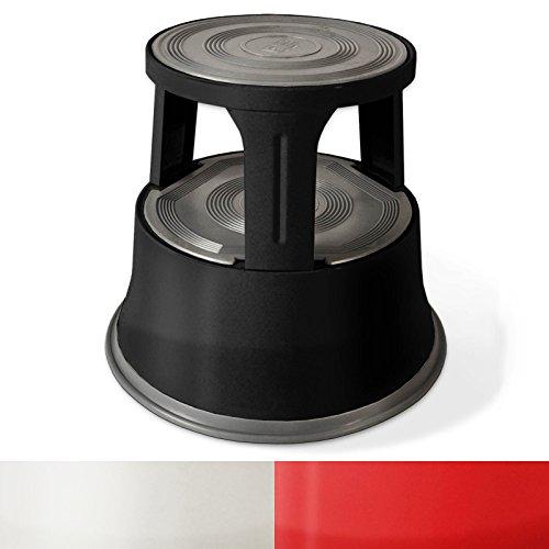 Rollhocker  Arbeitshocker | Metall | TÜV- und GS-geprüft | Elefantenfuß | Tritthocker mit Rollen | 3 Farben (Schwarz)