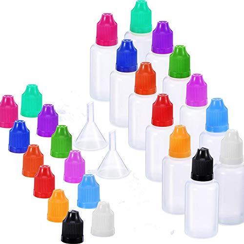 12 Stück 1 Unze LDPE Kunststoff Dünne Spitze Tropfen Leere Flasche Squeeze Flasche mit 2 Trichtern für E-Liquids DIY Handwerk -