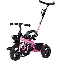 PLDDY sillas de paseo Carrito Triciclo Carro de bebé Bicicleta Niño Juguete Coche Titanio Ruedas vacías Doble freno Bicicleta 3 ruedas (niño/niña, 18 meses -6 años) BICI (Color : C)