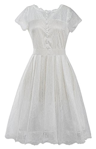 Summer Mae Robe de Soirée Rétro de Dentelles - Manches Courtes - Femme Blanc