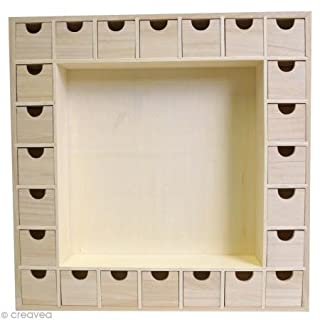 Artemio 39 x 39.5 x 6.5 cm Square Wooden Advent Calendar with Drawers to Decorate, Beige