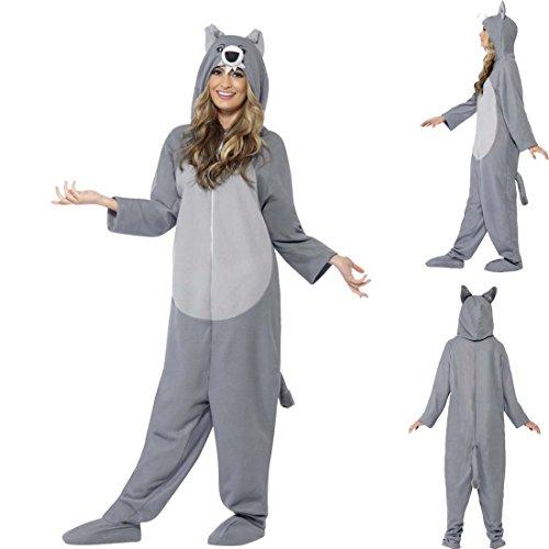Imagen de mono de lobo disfraz de lobo gris y blanco l atuendo fiesta de lobos vestimenta lobezno adulto traje completo unisex traje animal perro salvaje alternativa