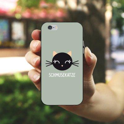 Apple iPhone 6 Housse Étui Silicone Coque Protection Chat Chat Chaton Housse en silicone noir / blanc