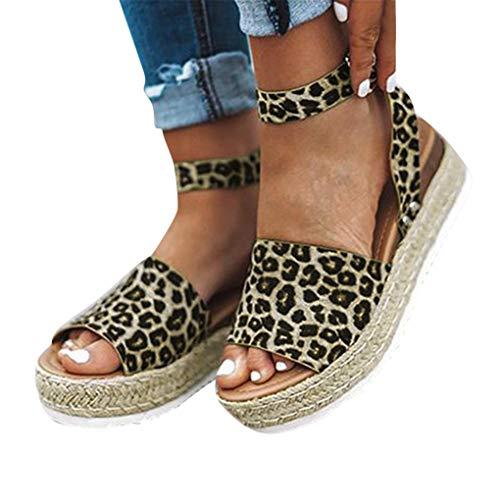 Sandalen für Damen/Dorical Sommer Roman Leopard Espadrilles Keilabsatz Wedges Schuhe Mit Absatz Sandaletten Strandschuhe Riemchensandalen Geflochtene Kork...