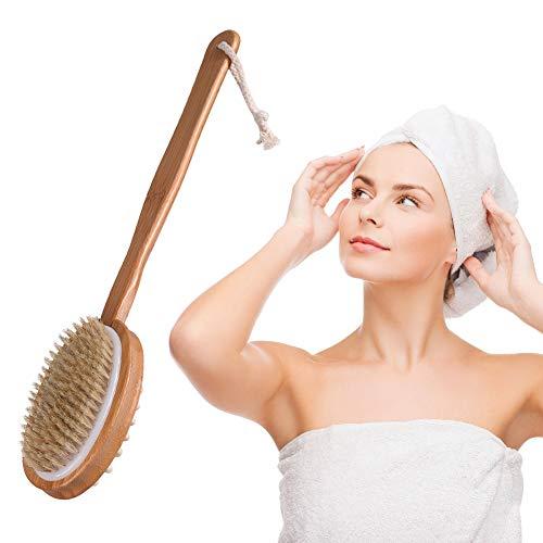 Spazzola bagno schiena,spazzola corpo naturali,spazzola corpo scrub,posteriore spazzolatura a secco manico lungo anti cellulite esfoliante spazzol posteriore morbida