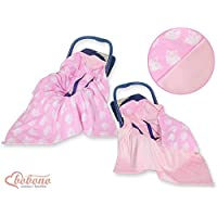 NEW!! UNIQUE DOUBLE-SIDED CAR SEAT BABY PINK BLANKET / COVER / COSYTOES - FOOTMUFF! 100x100cm PINK OWLS