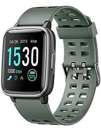 YAMAY SmartWatch - Reloj inteligente de fitness para hombre y mujer, impermeable IP68, con pulsómetro, podómetro y contador de pasos, para niños, con cronómetro para Android y iOS