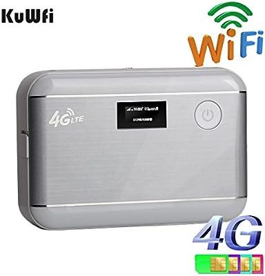 kuwfi desbloqueado 100Mbps 5200mAh Banco de alimentación móvil 4G LTE WiFi Router Portátil Banco De Energía 4G Router con tarjeta SIM ranura & RJ45