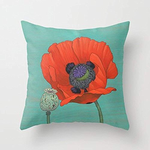 Lepilo Decorative Arts Red Poppy and Pod In Teal Comfortable Pillowcase - Poppy Pods