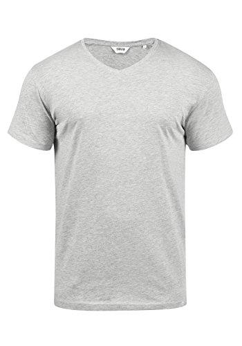 !Solid Bedo Herren T-Shirt Kurzarm Shirt Mit V-Ausschnitt Aus 100% Baumwolle, Größe:M, Farbe:Light Grey Melange (8242) - Button-down V-neck T-shirt