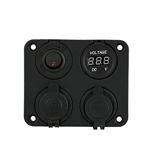 Zufriedenstellendes Produkt Vier-Loch-Panel Base + Dual-USB-Buchse + Voltmeter Meter + Steckdose + ON-Off-Schalter für Auto LKW Motorrad Boot für ATV (Boot-tisch Base)