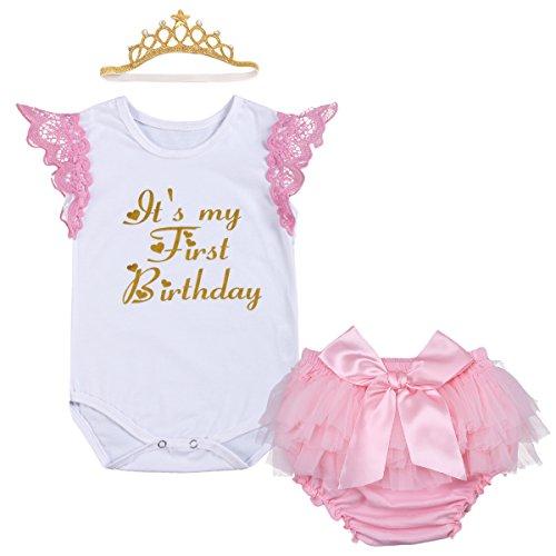 4tlg/3tlg Neugeborene Baby Mädchen Kleidung Kurzarm Strampler Anzug Body #3 Weißer Spitze 12-18 Monate