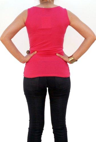 08119 Damen Top Frauen Top Shirt Lochmuster, weiß, schwarz, pink, blau, Unigröße (S, M, L). Rosa