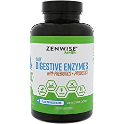 Digestive Enzymes with Prebiotics and Probiotics - All Natural Gluten Free Enzymes for Better Digestion, Bloating, Gas, Discomfort, IBS, Lactose and Greater Nutrient Absorption - Vegan - 180 Vcap