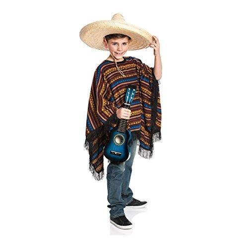 Kostümplanet Poncho Mexiko-Kostüm Kinder Mexikaner Ponchokostüm Größe 116