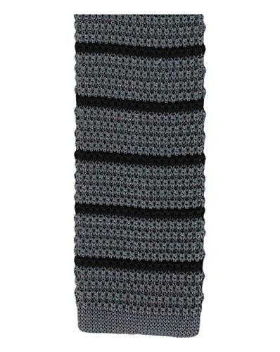 Michelsons of London Charcoal/Black Silk tricoté rayé maigre cravate de