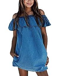 Blansdi Damen Casual Jeanskleid Schulterfrei Bluse Mini Sommerkleid Trägerlos Jeans Lose T-shirt-Kleid Freizeit Partykleid