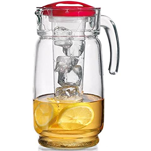 Clear Glass Ice Chiller Pitcher with Red Lid and Handle 64-oz. - Ice Chiller Tube Included by GFSmart