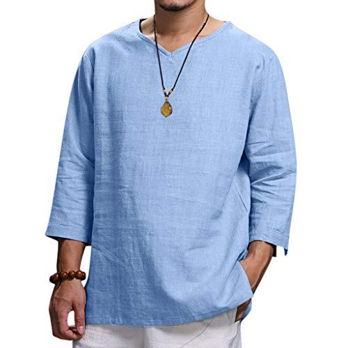 Aoogo Herren Sommer Plus Size New aus Reiner Baumwolle und Hanf Top komfortable Mode Bluse Top