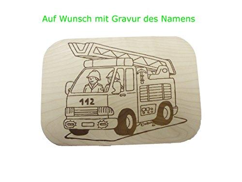 Schneidebrett mit Gravur 26x18cm Feuerwehrauto Ahorn Holz (Holz Schneidbrett 18 X 12)