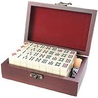 Quantum Abacus Set de mahjong / mah-jongg, piezas de imitación de marfil blanco en una fina caja de madera (17cm x 11cm x 6cm) (MJ001-01 DE)