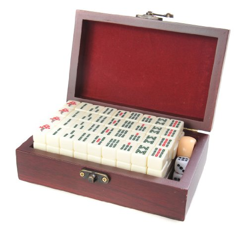 Set de mahjong / mah-jongg, piezas de imitación de marfil blanco en una fina caja de madera (17cm x 11cm x 6cm) (MJ001-01 DE)