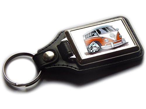 VOLKSWAGEN VW CAMPER VAN CLASSIC 1968Split Screen Premium Koolart Leder und Chrom Schlüsselanhänger wählen Sie eine Farbe., orange