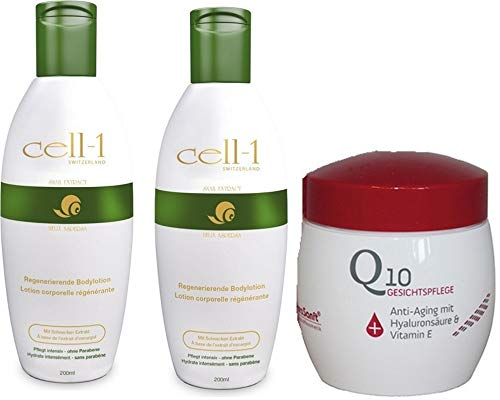 Cell -1 Hautgel für Gesicht und Körper mit reinem Schnecken Extrakt: Anti-Age, Pickeln, Flecken, Narben, Dehnungsstreifen 2x 200ml + GRATIS Q10 Anti-Age Gesichtscreme 50ml