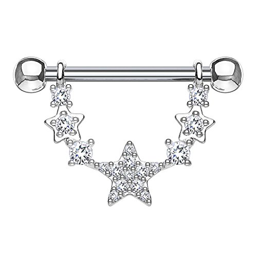 Piersando Brustwarzen Piercing Intimpiercing Nippelpiercing Brust Nippel Intim Schmuck Brustwarzenpiercing Barbell mit Kristall Anhänger Silber